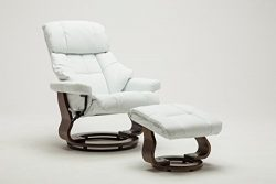 Madison Home Mid Century Modern Bonded Leather Lounge Swivel and Recliner Chair with Foot Stool  ...