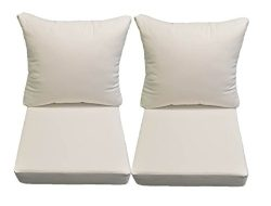 Sunbrella Canvas White Cushion Sets for Patio Outdoor Deep Seating Furniture Loveseat – Ch ...