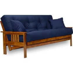 Stanford Futon Set – Full Size Futon Frame with Mattress Included (8 Inch Thick Mattress,  ...