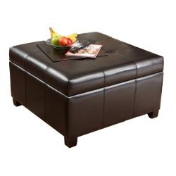 Best Selling | Storage Ottoman | Coffee Table | Square Shaped | Premium Bonded Leather in Espres ...