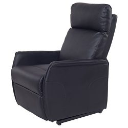 Giantex PU Electric Lift Chair Power Recliner Reclining Sofa Lounge W/Remote Controller (Black)
