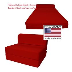 6″ Thick X 36″ Wide X 70″ Long Twin Size Red Sleeper Chair Folding Foam Bed 1. ...