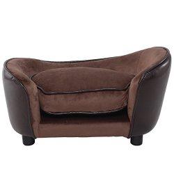 Giantex Pet Sofa Ultra Plush Snuggle Soft Warm Dog Puppy Sleeping Bed w/ Cushion Brown (L)