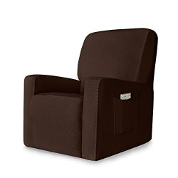 Chunyi 1-Piece Stretch Spandex Jacquard Recliner Chair Slipcovers(Recliner, Chocolate)