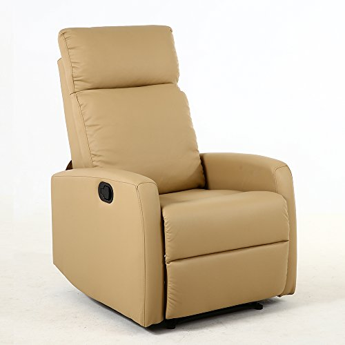 Dland Home Theater Seating Recliner Chair Compact Manual Leather Reclining Sofa Living Room Chairs Light Brown 8031 Gvdesigns Gvdesigns