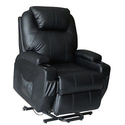 Massage Chair Power Lift Recliner Wall Hugger PU Leather heated Vibration with Wheels 2 Controls ...
