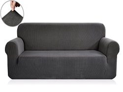 Chunyi Jacquard Sofa Covers 1-Piece Polyester Spandex Fabric Slipcover (Loveseat, Gray)