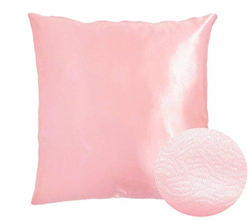 Light Pink Decorative Textured Satin Cushion Cover Throw