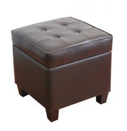 Kinfine Leatherette Tufted Square Storage Ottoman with Hinged Lid, Brown