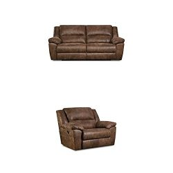 Simmons Upholstery Phoenix 2 pc Living Room Set with Double Motion Sofa and Cuddler Recliner , Mocha