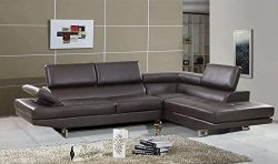Golden Coast Furniture 2 PC Simple Bonded Leather Sofa Sectional Sets (With Multiple Colors) (Brown)