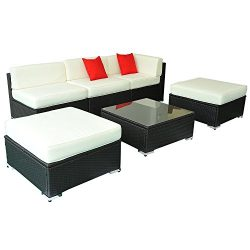 Deluxe Outdoor Rattan Garden Wicker 6-Piece Sofa Set Patio Sectional Furniture