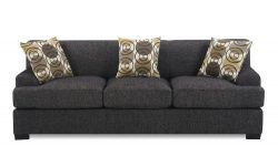 Sofa with Accent Pillows in Ash Black Faux Linen