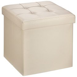 """Ollieroo Faux Leather Folding Storage Ottoman Bench Seat Foot Rest Stool Coffee Table (15"""" ..."""
