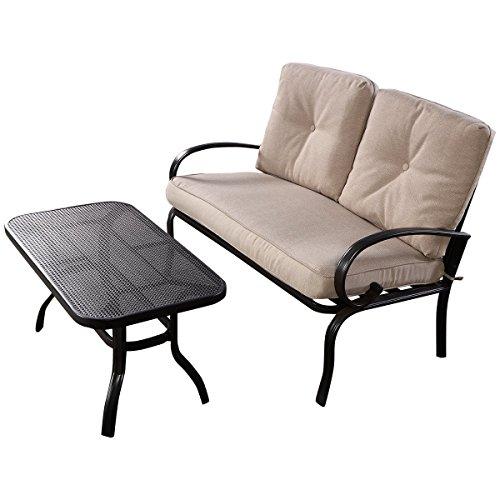Giantex 2 Pcs Patio Outdoor LoveSeat Coffee Table Set