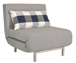 Cortesi Home Savion Convertible Accent Chair Bed, Grey