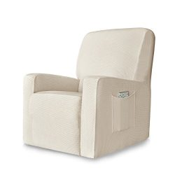 Chunyi 1-Piece Stretch Spandex Jacquard Recliner Chair Slipcovers (Recliner, Ivory White)