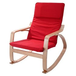 Giantex Rocking Chair Armchair Leisure Lounge Wood Accent Living Room Furniture (Without Footres ...