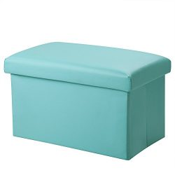 Inoutdoorkit FSL01 Foldable Leather Storage Ottoman Bench Footrest Stool, Coffee Table Cube For  ...