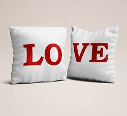 Set of 2 love red white pillowcases,Throw pillowcases, couples gift for engagements love seat pi ...