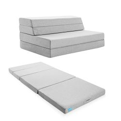 LUCID 4 Inch Folding Mattress and Sofa with Removable Indoor / Outdoor Fabric Cover – Quee ...