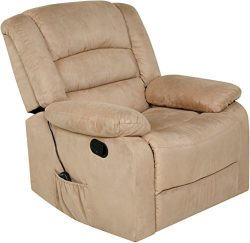 Relaxzen 60-701008M Massage Rocker Recliner with Heat and USB, Beige Microfiber