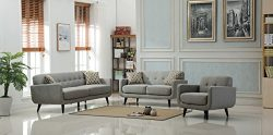 Roundhill Furniture 3 Piece Modibella Contemporary Living Room Sofa Set, Loveseat and Chair, Gray