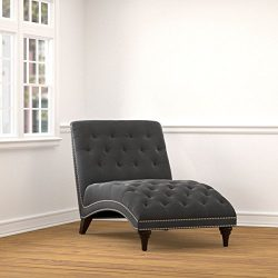 Chair Living Room/ Chaise Lounge Chair Palermo Grey Velvet Snuggler Chaise – 38.5 in High  ...