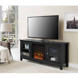 Wood TV Stand with Fireplace, for TVs up to 60″ | Includes Electric Fireplace Insert (Black)