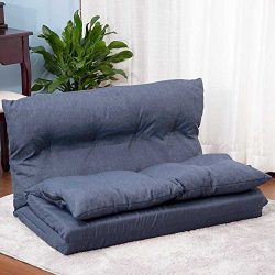 Merax Fabric Folding Chaise Lounge Floor Gaming Sofa Chair (Navy Blue)