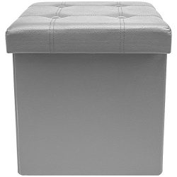 "ShellKingdom Faux Leather Collapsible Ottoman with Storage (15""X15""X15"" Cube Gray)"