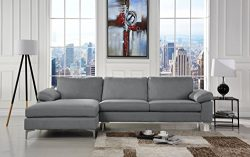 Modern Large Linen Fabric Sectional Sofa, L-Shape Couch with Extra Wide Chaise Lounge (Light Grey)