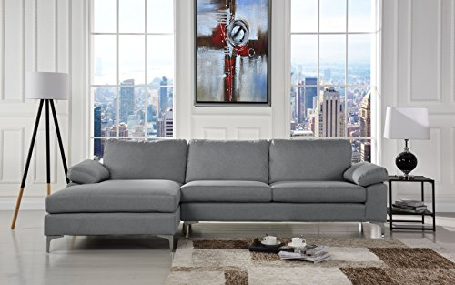 Modern Large Linen Fabric Sectional Sofa, L-Shape Couch