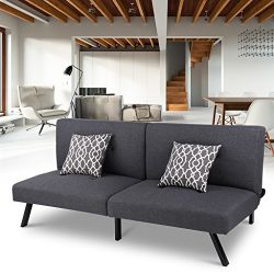 LANGRIA Modern Entertainment Convertible Futon Sofa Bed Fold Up & Down Recliner Couch, Multi ...