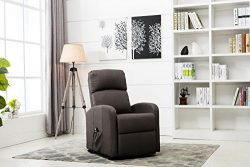 Divano Roma Furniture – Classic Plush Power Lift Recliner Living Room Chair (Dark Grey)