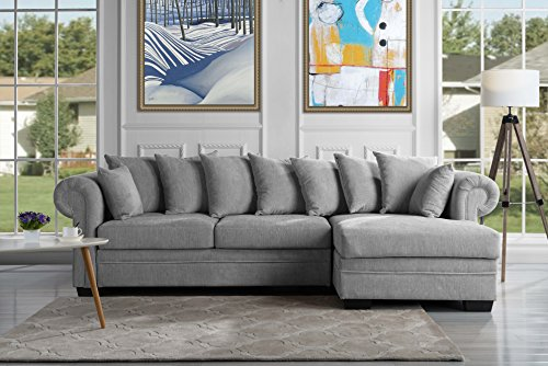 modern large fabric sectional sofa l shape couch with extra wide chaise lounge light grey