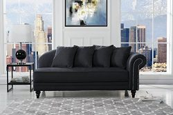 Large Classic Velvet Fabric Living Room Chaise Lounge with Nailhead Trim (Black)
