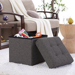 Ellington Home Foldable Tufted Linen Storage Ottoman Cube Foot Rest Stool/Seat – 15″ ...