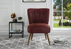 Classic and Traditional Living Room Brush Microfiber Accent Chair with Tufted Details (Red)