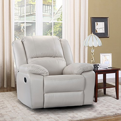 Top 4 Comfortable Chairs For Living Room: Oversize Ultra Comfortable Air Leather Fabric Rocker And