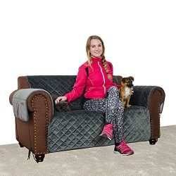 Furry Buddy Quilted Velvet Pet Loveseat Cover, Water Resistant Couch Furniture Cover, Non-Slip S ...