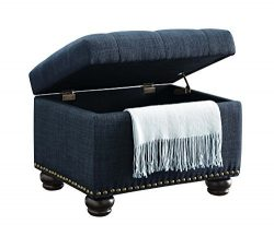 Convenience Concepts Designs4Comfort 5th Avenue Storage Ottoman, Blue