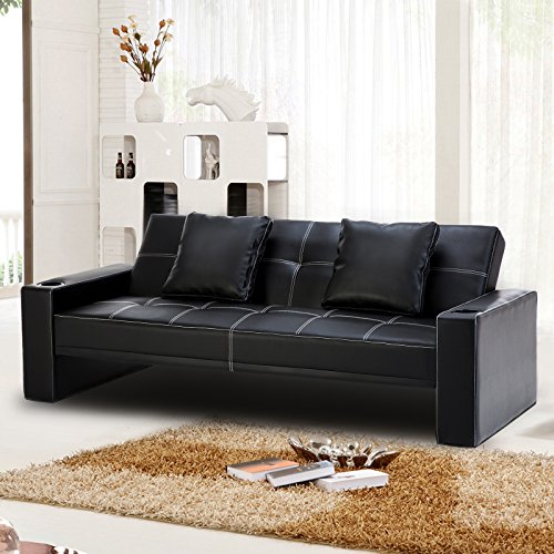 Recliner Genius Leather Sofa Couch Sleeper Bed With Two