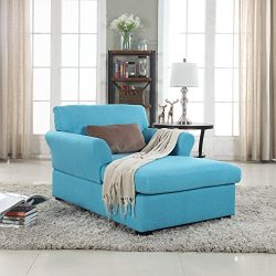 large classic linen fabric living room chaise lounge blue