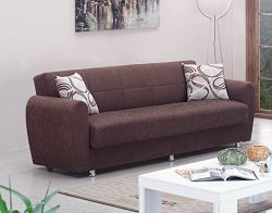 BEYAN Boston Collection Modern Convertible Folding Sofa Bed with Storage Space, Includes 2 Pillo ...