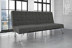 DHP Emily Futon Couch Bed, Modern Sofa Design Includes Sturdy Chrome Legs and Rich Velvet Uphols ...