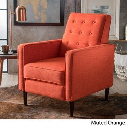 Macedonia Mid Century Modern Tufted Back Fabric Recliner (Muted Orange)