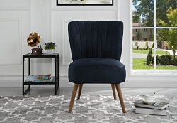 Classic and Traditional Living Room Brush Microfiber Accent Chair with Tufted Details (Navy)
