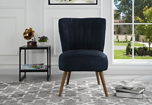 Classic and traditional living room brush microfiber accent chair with tufted details navy for Microfiber accent chairs living room