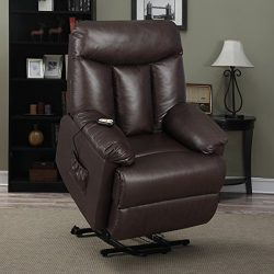 Prolounger Lya Brown Renu Leather Power Recline and Lift Wall Hugger Chair, Heavy Duty Steel Rec ...
